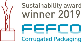 A seal of Lemtapes' sustainability award in 2019. Sustainability award winner 2019 - FEFCO Corrugated Packaging.