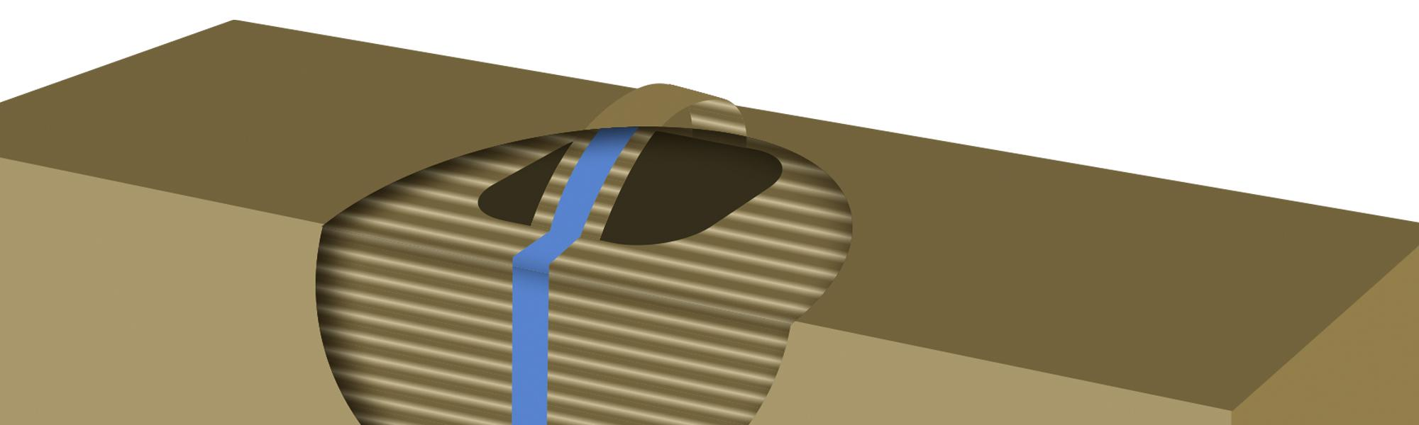 Diagram showing Lemtapes reinforcement tape underneath the top layer of corrugated cardboard.