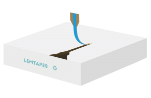 A flat carton with Lemtapes Open Tape applied to the inside surface, enabling easy pull-tab opening.
