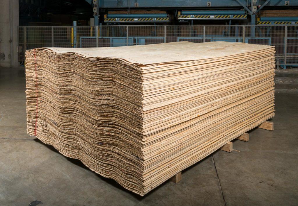 A stack of veneer lumber at the Metsä Wood factory.
