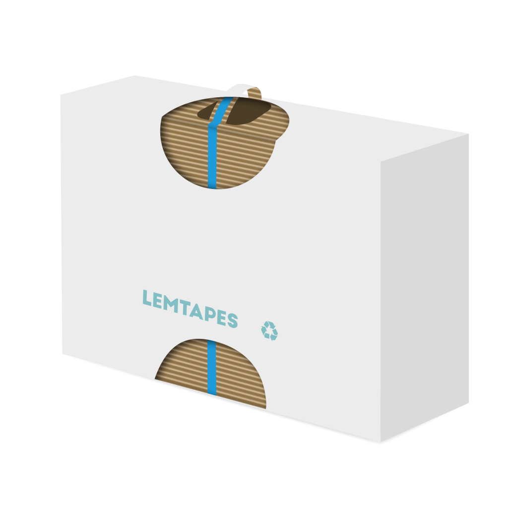 A diagram of a Lemtapes box with a reinforced, integrated cardboard handle.