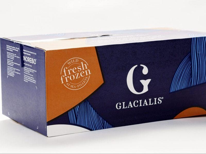 A box of Glacialis frozen fish fillets.
