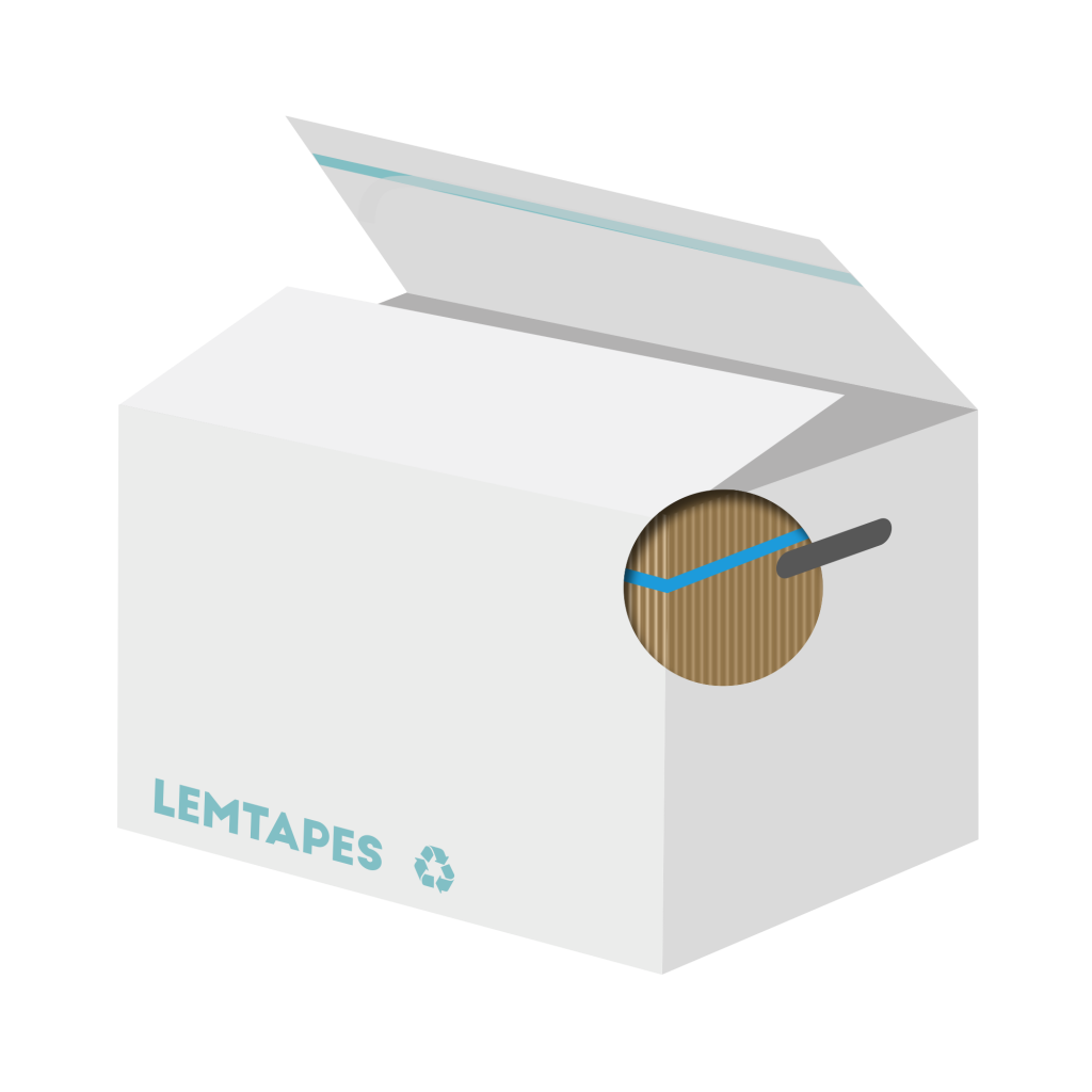 A diagram of a Lemtapes box with handhole reinforcement applied underneath the surface.