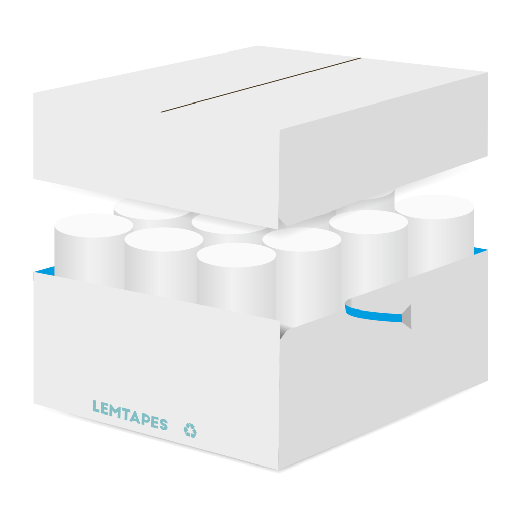 A diagram of a box with Lemtapes Open Tape applied around the middle, enabling an easy-open pull tab.