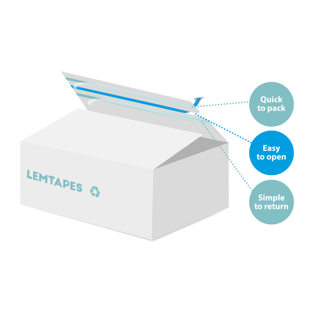 A cardboard box with Lemtapes Open Tape applied to the inside flap, enabling fast closure, easy pull-tab opening, and simple returns.