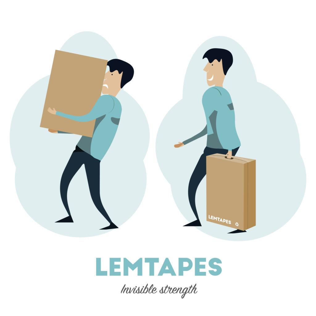 Animated image comparing the ease of carrying a box with a reinforced Lemtapes handle versus no handle.