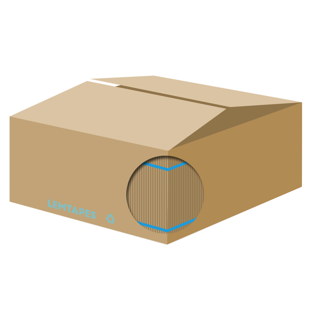 A diagram of a box with Lemtapes reinforcement tape applied under the surface.